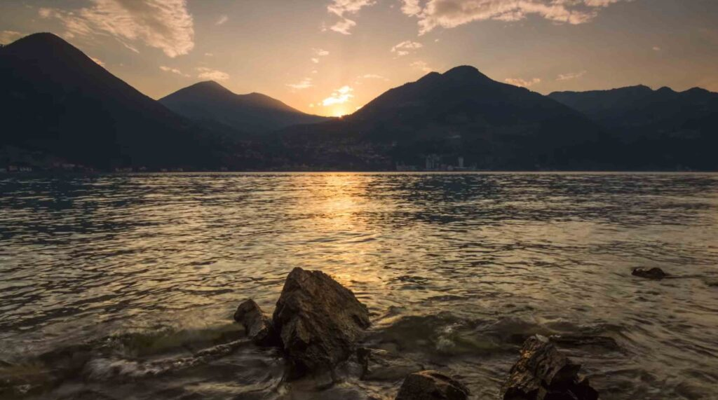 lake iseo in italy at sunset