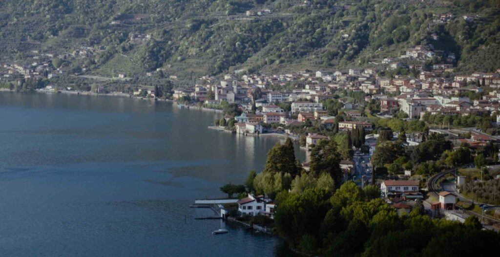 lake iseo in italy with drone